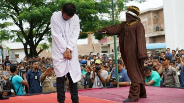 The second convicted man receives his lashes. Human rights groups had appealed to Indonesia's president to intervene.