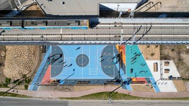 An overhead view of the new Skyrail and play spaces below designed by ASPECT Studios.
