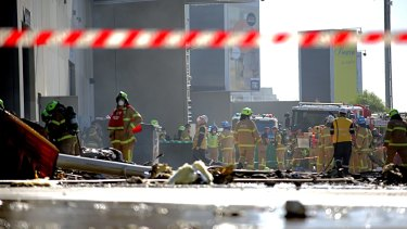 Firefighters at the scene in Essendon.