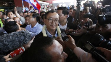 Sam Rainsy, leader of the opposition Cambodia National Rescue Party (CNRP), in Phnom Penh in August.