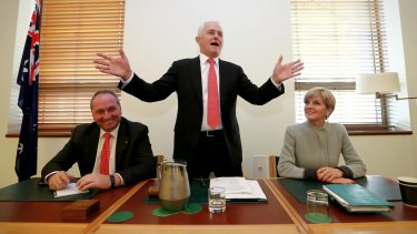 Prime Minister Malcolm Turnbull, with Deputy Prime Minister Barnaby Joyce and deputy Liberal leader Julie Bishop, addresses Coalition MPs on Monday.