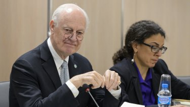 Staffan de Mistura, UN Special Envoy of the Secretary-General for Syria, at a meeting on Syria peace talks with the Syrian opposition in Geneva, Switzerland.