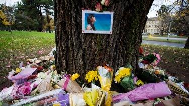 Tributes left to Renea Lau in Kings Domain.