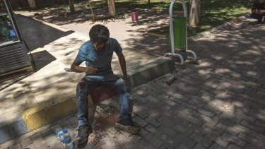 An injured student in Suruc on Monday.
