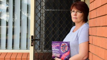 Leisa Ross with the packet of Nanna's frozen mixed berries that she alleged gave her hepatitis A.