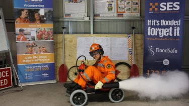 SES volunteer? Ryan Kirk mans his billy cart entry.