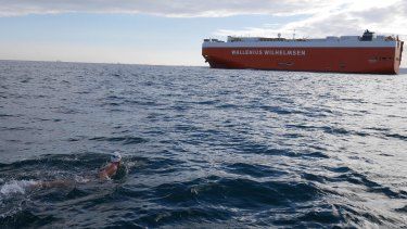 Chloe McCardel swims the English Channel for the 19th time earlier last week.