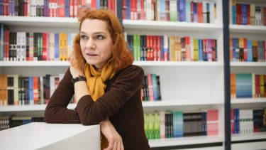 Asli Erdogan, no relation to Turkey's president at her publisher's office in Istanbul in February, just after she was released from prison. She was jailed as part of the latest crackdown on dissidents.