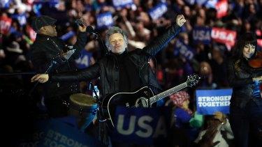 Jon Bon Jovi performs at the Philadelphia rally.