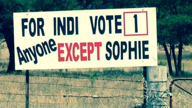 An anti-Sophie Mirabella billboard on the Midland Highway in Indi.