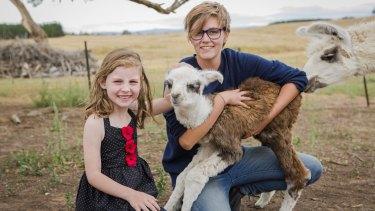 "Aurelia Evans, 6, of Jerrabomberra, and Alpaca Magic volunteer Becki Hunter with baby llama - or 'cria' - ""Waratah"".   The Canberra Times  Photo Jamila Toderas"