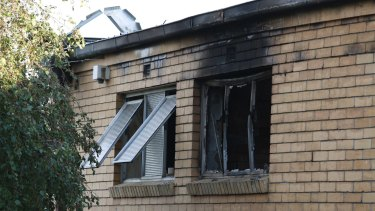 Damage from the suspicious fire at St Mary's Catholic Church in Dandenong this morning.