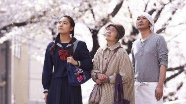 From left: Kyara Uchida, Kirin Kiki and Masatoshi Nagase in Naomi Kawase's <i>An</i>.