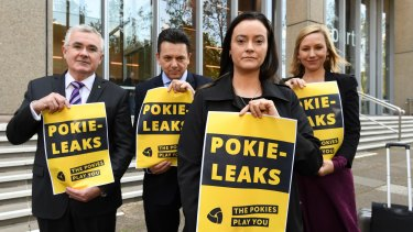 Greens deputy leader, Larissa Waters, Andrew Wilkie MP, Senator Nick Xenophon, and former pokie machine victim, Shonica Guy launch PokieLeaks in Sydney CBD.