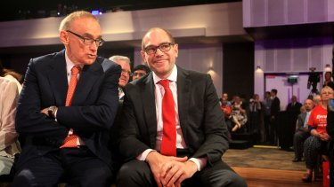 Former NSW premier Bob Carr with Jamie Clements.