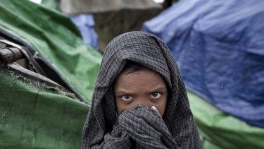 A Rohingya boy in Dar Paing refugee camp, north of Sittwe, in Myanmar.