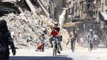 Damage in Damascus last year.