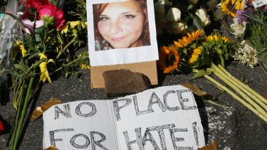 A makeshift memorial for Heather Heyer, who died when a car rammed into a group of people who were protesting the presence of white supremacists who had gathered in the city for a rally.