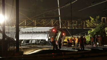 The derailed Amtrak train.