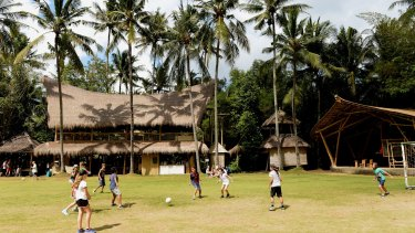 A campus game of soccer; to create its curriculum, the school has cherry-picked from education systems globally.