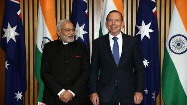 Indian Prime Minister Narendra Modi and Prime Minister Tony Abbott at Parliament House.
