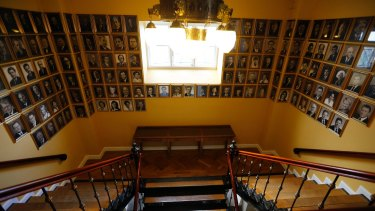 Will there be Pirates in the house? View of the staircase in the Icelandic Parliament with pictures of former prime ministers and ministers.
