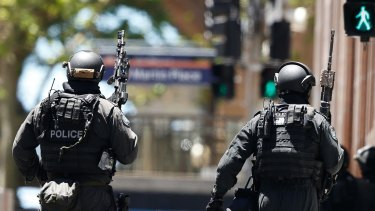 Scene from the siege at Lindt Cafe in Martin Place on December 15, 2014 in Sydney