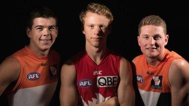 Northern Academy players Matt Kennedy, Callum Mills and Jacob Hopper at the 2015 draft.