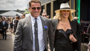 TV personality Karl Stefanovic and girlfriend Jasmine Yarbrough arrive at the Birdcage on Derby Day.