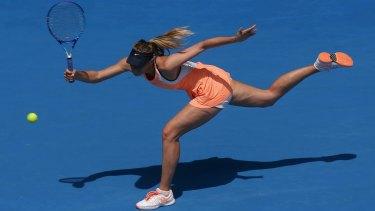Maria Sharapova in action at the Australian Open in January 2016.