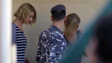 Tara Brown, left, and Sally Faulkner leave a women's prison in Beirut.