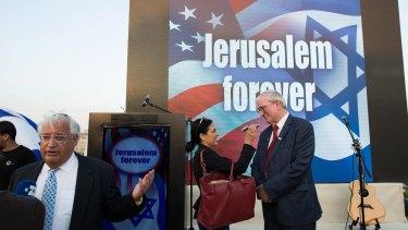 """David Friedman (far left) gives interviews at a Trump campaign event entitled """"Jerusalem forever"""" in East Jerusalem in October."""