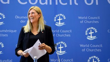 ICAN's Beatrice Fihn in Geneva after the Nobel Peace Prize announcement.
