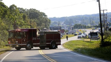 Authorities block Virginia State Route 122 at Bridgewater Plaza in Moneta, Virginia, after two journalists were fatally shot while broadcasting live from the plaza earlier in the day.