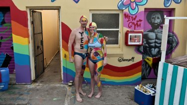 Club Captain Danny Adams and Holly Love at Tamaramma SLSC during the Yes to Same-Sex Marriage walk from Bondi to Bronte.