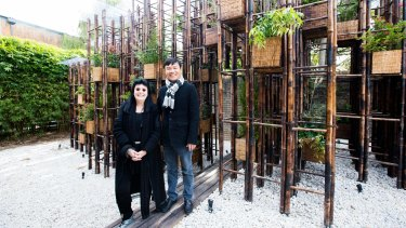 Arts Patron Gene Sherman commissioned Vietnamese architect Vo Trong Nghia to create the fourth temporary paviliion in her Fugitive Structures series.