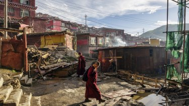 Despite periodical attempts by Chinese authorities to curb development at Larung Gar, construction is constant.