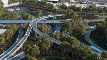 The St Peters Interchange that will make up part of WestConnex, seen in an artist's impression.