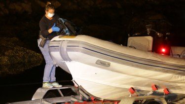 Police allege the syndicate attempted to ship 500 kilograms into Parsley Bay, on the NSW Central Coast, in this inflatable boat.