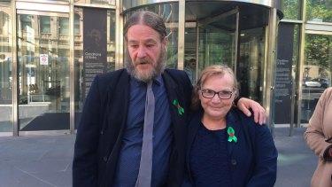 Matthew and Elizabeth Pallett outside the County Court on Thursday.
