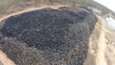 An aerial shot from 2014 of the Stawell tyre dump, which holds around 9 million tyres.