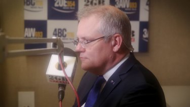 Treasurer Scott Morrison on 2GB radio in Parliament House, Canberra, on Monday.