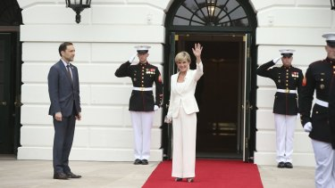 Foreign Minister Julie Bishop arrives at the White House.