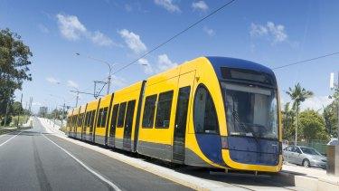 A Bombardier Flexity 2 tram operating on the Gold Coast light rail line.