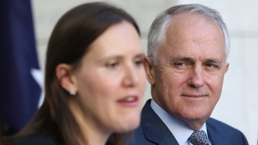 Prime Minister Malcolm Turnbull and incoming assistant minister for the public service Kelly O'Dwyer.