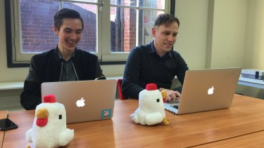 <i>Crossy Road</i> developers Andy Sum (left) and Matthew Hall.