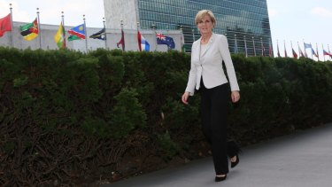 Foreign Affairs Minister Julie Bishop walks outside the UN building in New York, where she was assured by Egypt's Foreign Minister Sameh Shoukry that Peter Greste would receive a full pardon.