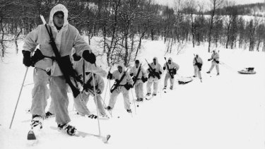 Old front line: British commandos on patrol 400 kilometres north of the Arctic Circle in February 1981.