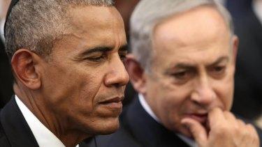 US President Barack Obama, left, and Israeli Prime Minister Benjamin Netanyahu at the funeral of former Israeli president and PM Shimon Peres in Jerusalem in September.