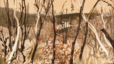 Cressida Campbell - Burnt Bush, woodblock print